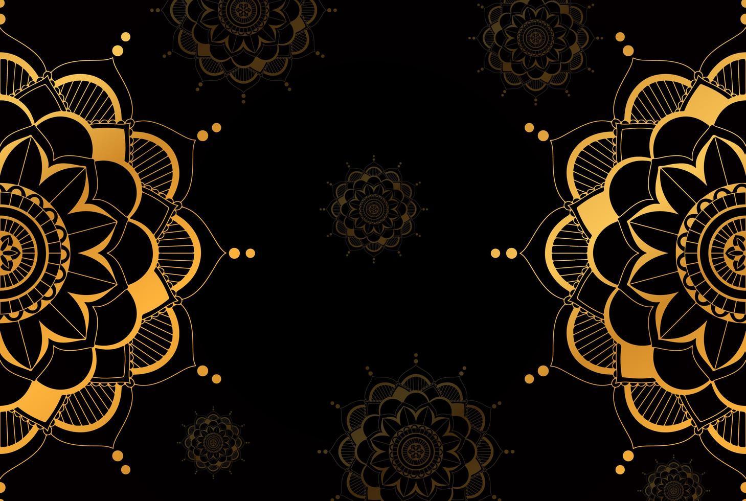gouden half mandala patroon op zwarte achtergrond vector