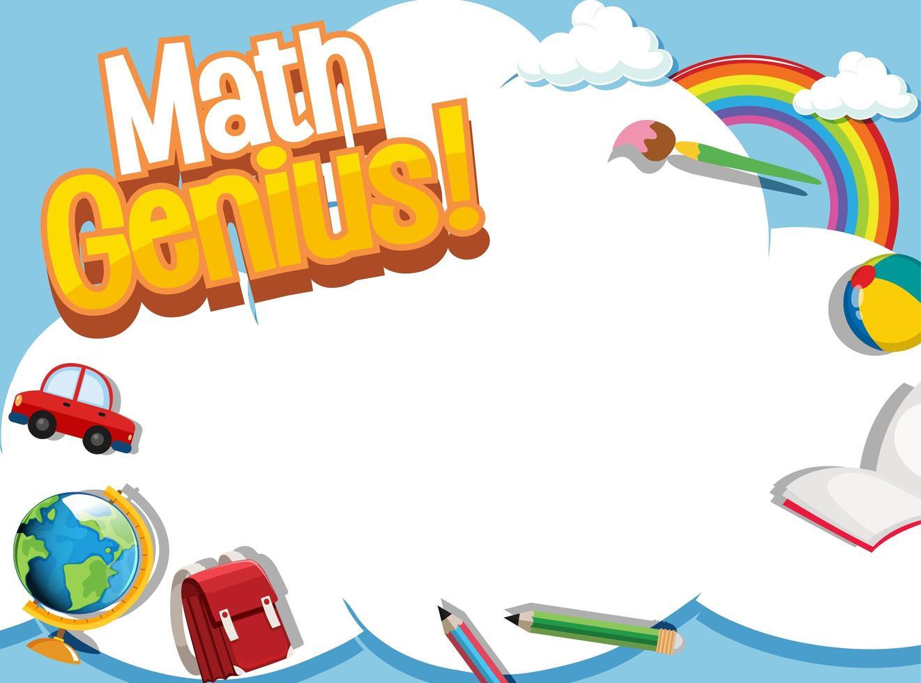 wiskundige frame sjabloon met schoolitems en hemel vector