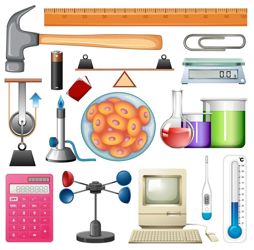 set van chemie-apparatuur en handgereedschap vector