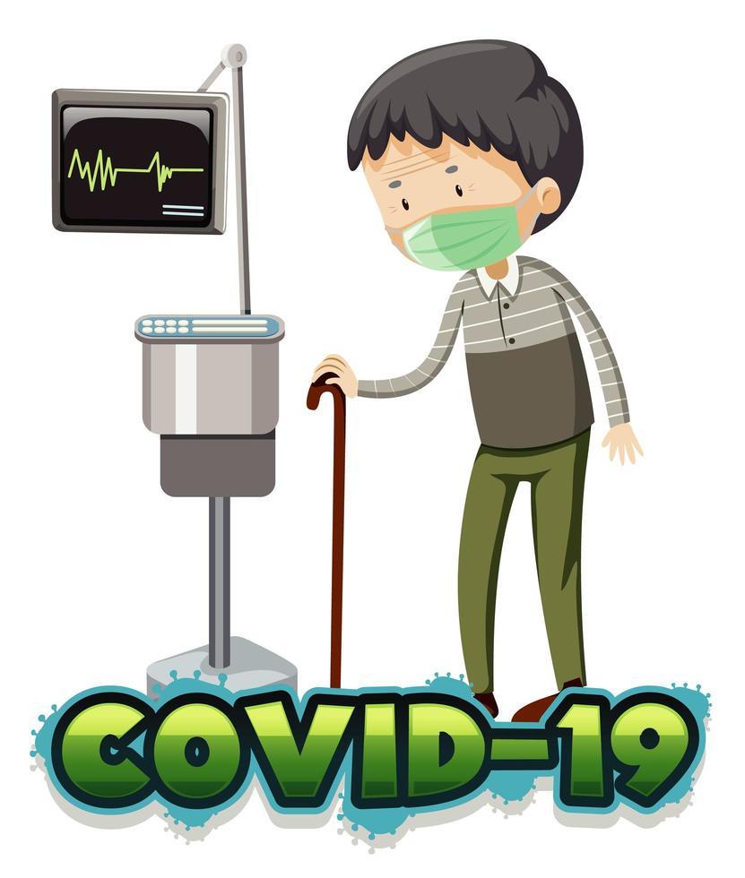 zieke oude man met covid-19 in het ziekenhuis vector