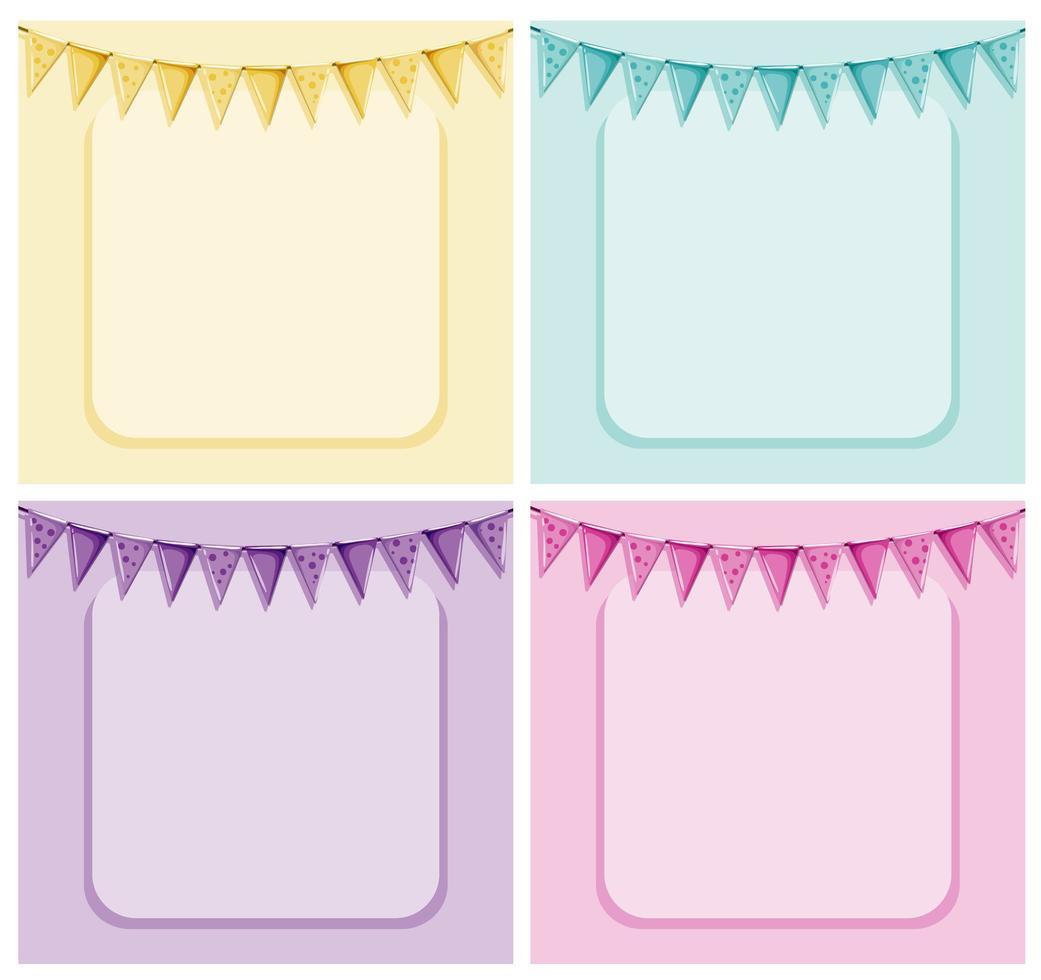 pastel frame en vlaggen sjabloon met copyspace vector