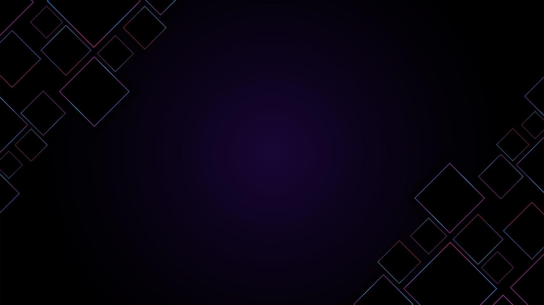 paarse achtergrond met kleurovergang met vierkante roze en blauwe frames vector