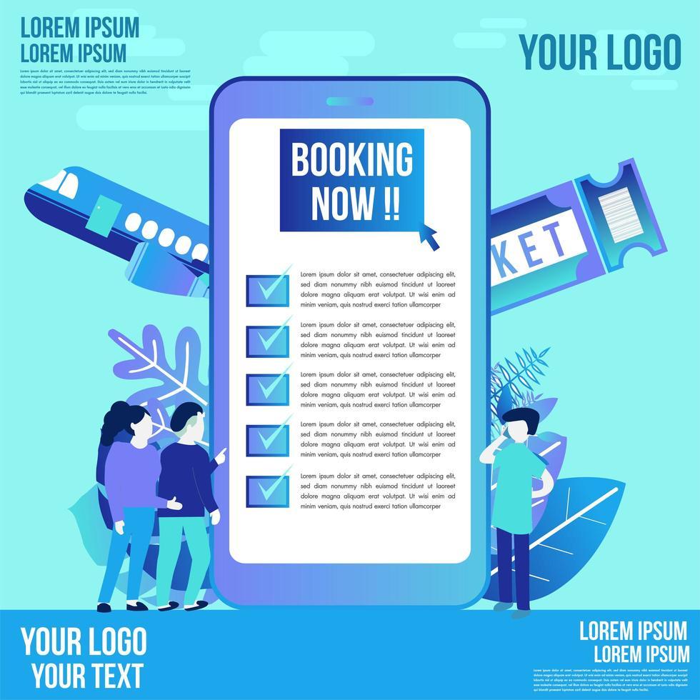 mobiel reisboekingsontwerp met vlakke stijlkarakters vector