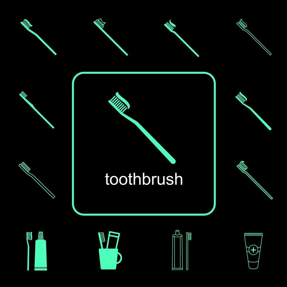 tandenborstel pictogramserie vector