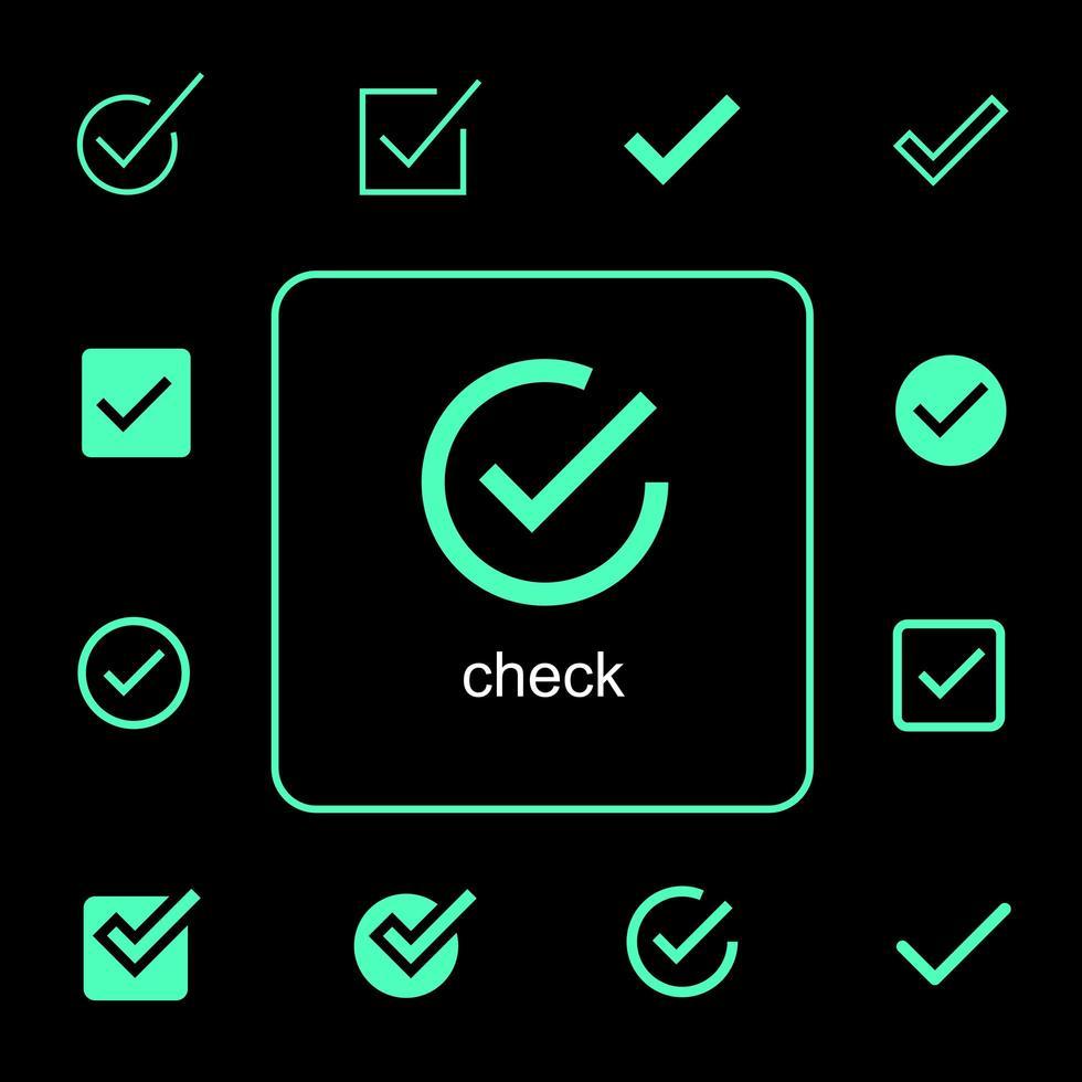verschillende eenvoudige vinkje iconen set vector