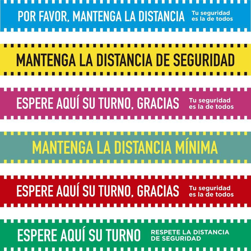 set van sociale afstandsbanden in het Spaans vector