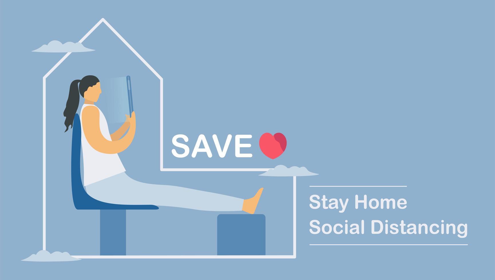 werken vanuit huis sociaal afstandelijk ontwerp vector