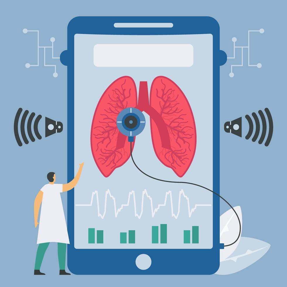 nieuwe technologie voor longgeluidscontrole op smartphone vector