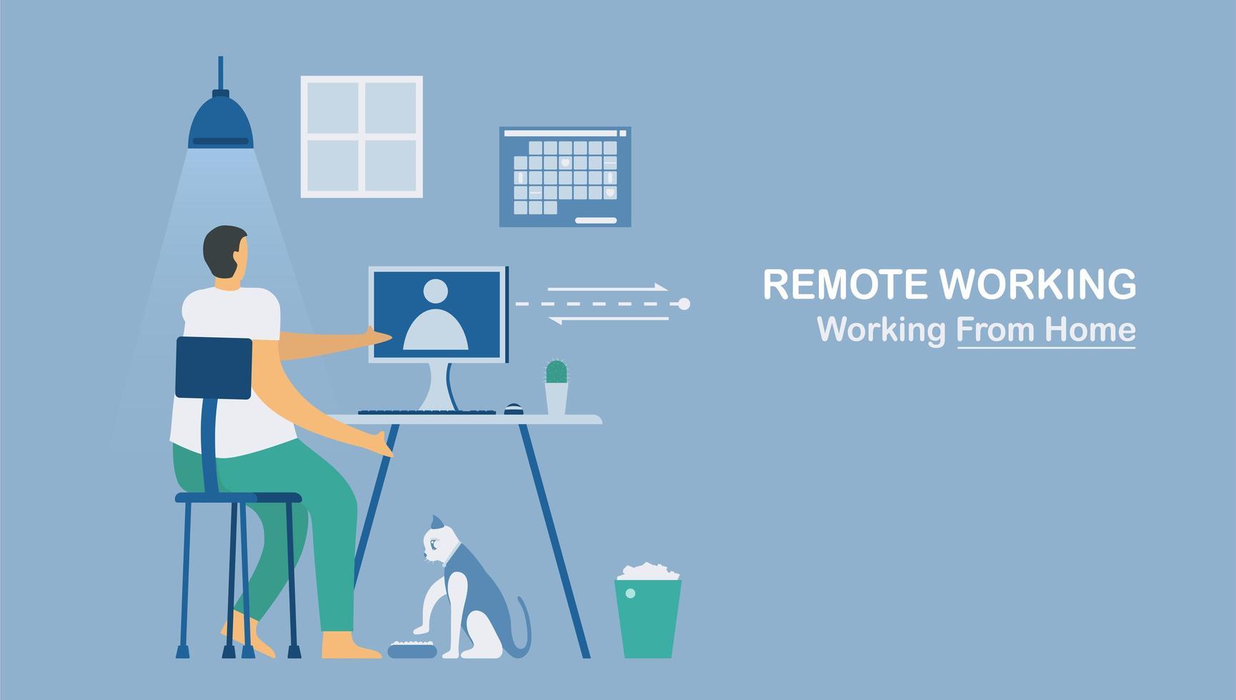 werken op afstand of thuis werken om het nieuwe coronavirus te beschermen vector