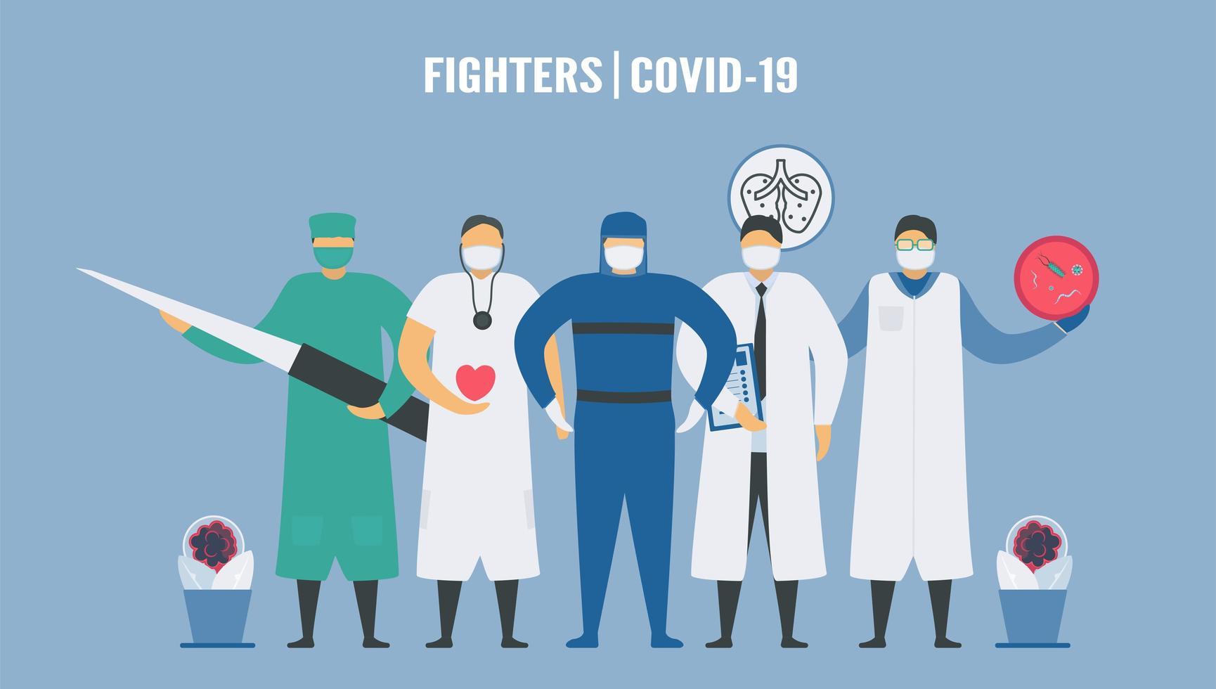 medische teams voor gevechten met nieuw coronavirus vector