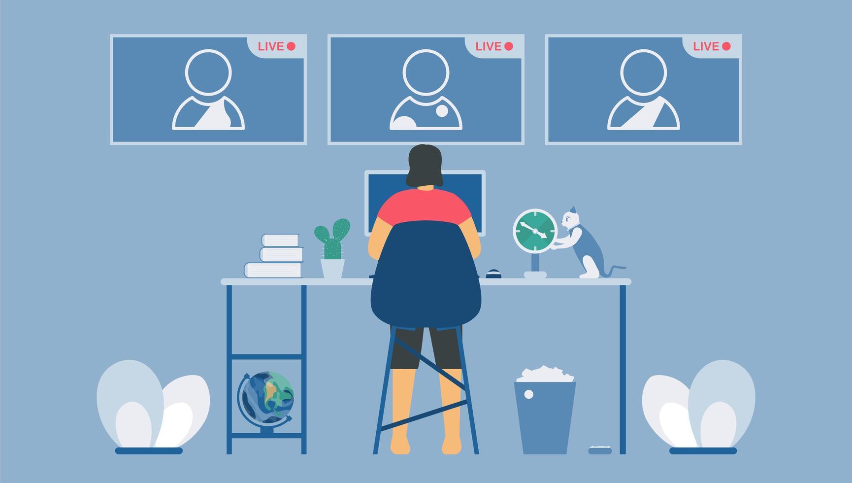 live videoconferentiegesprekken op laptop vector