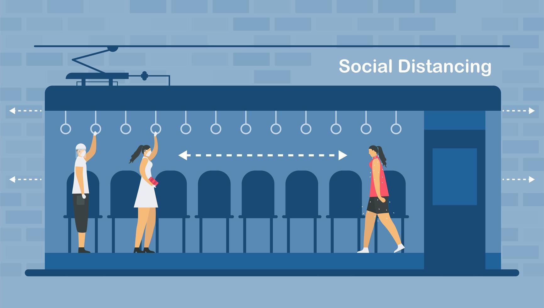 sociale afstand in elektrische trein vector