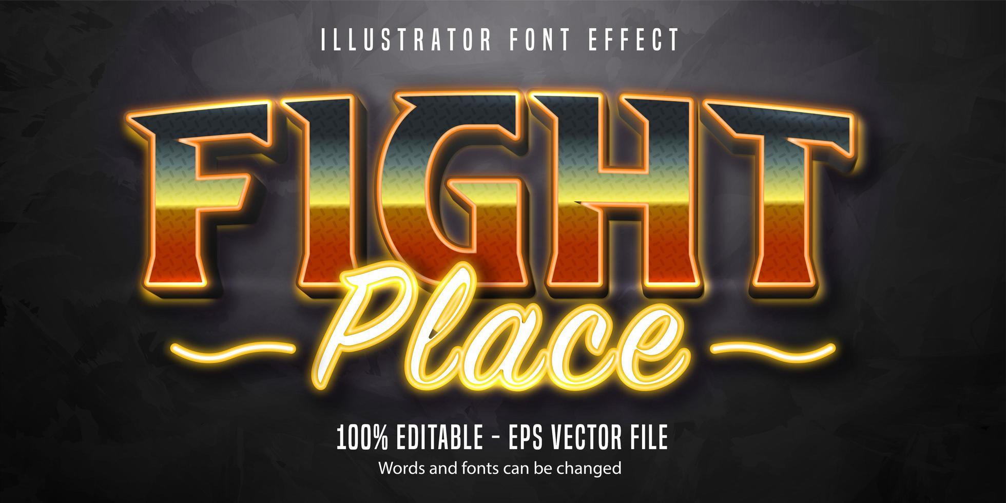 strijd plaats glanzend lettertype-effect vector