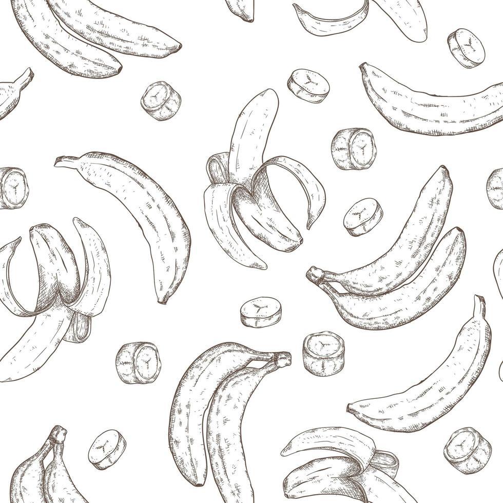 banaan hand getekend naadloze patroon vector