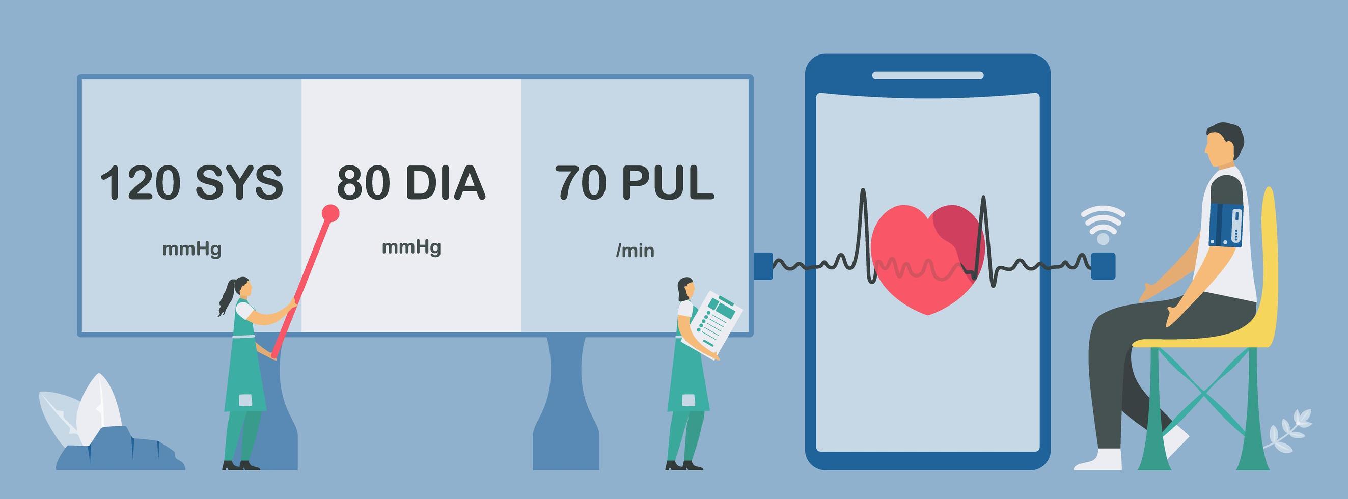 nieuwe technologie voor hartslag- en hartslagcontrole vector