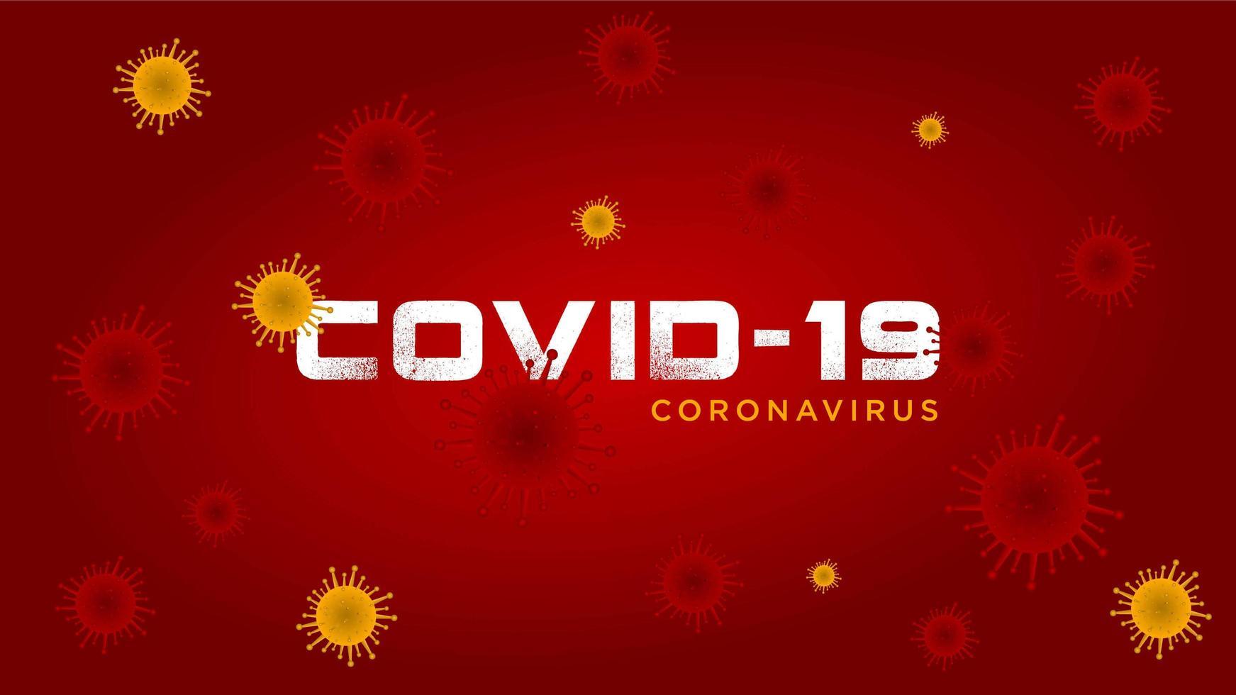 grunge covid-19 tekst rood en geel virusontwerp vector