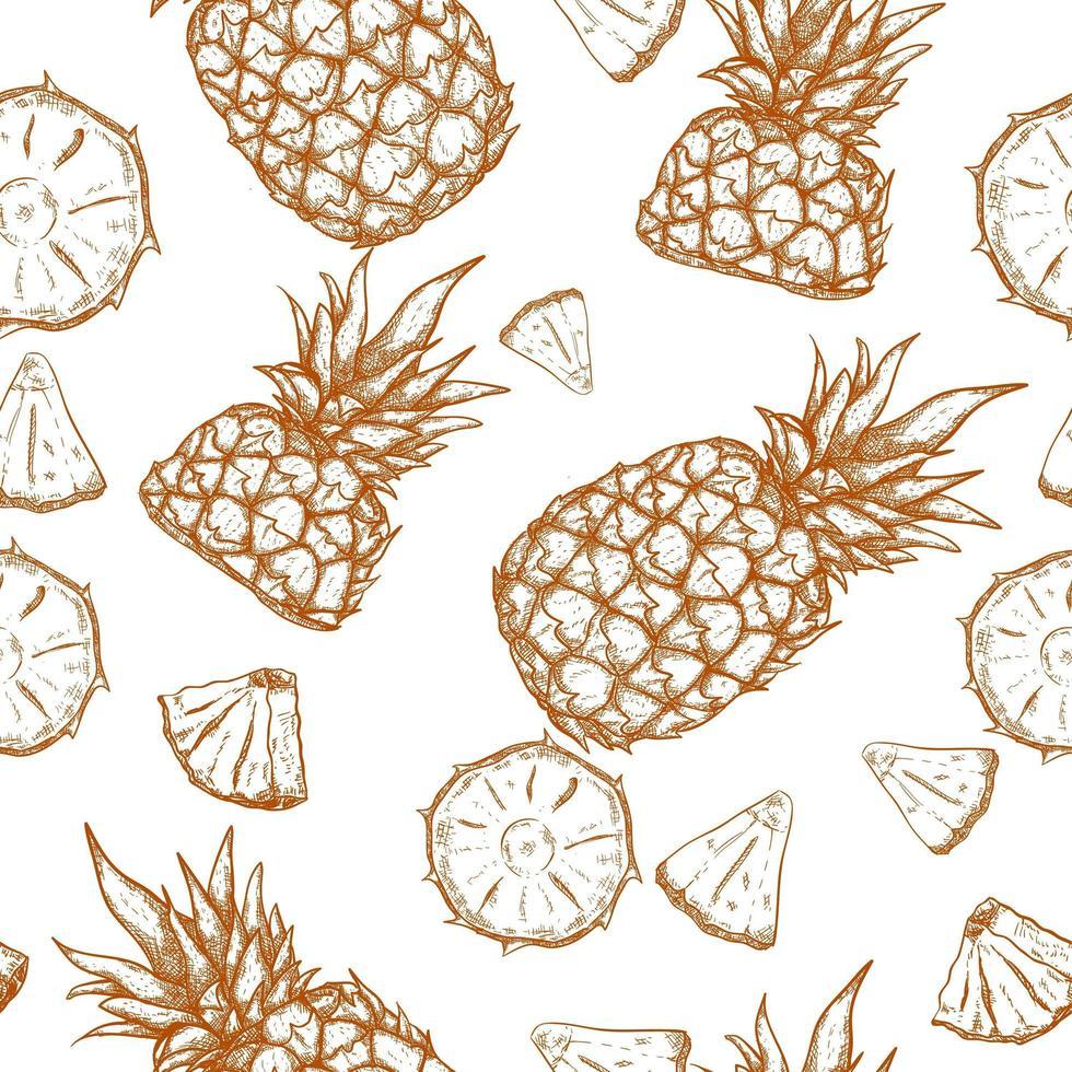ananas hand getekende naadloze patroon vector