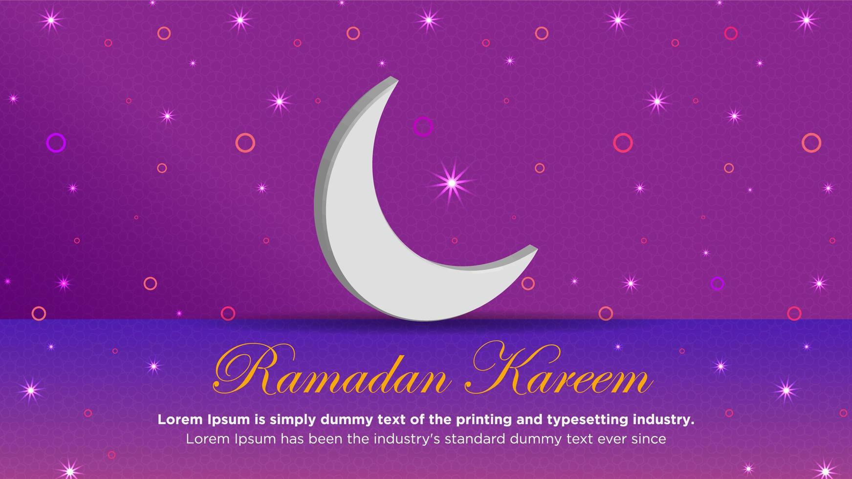 maan en knipperende lampjes op paars voor ramadan vector