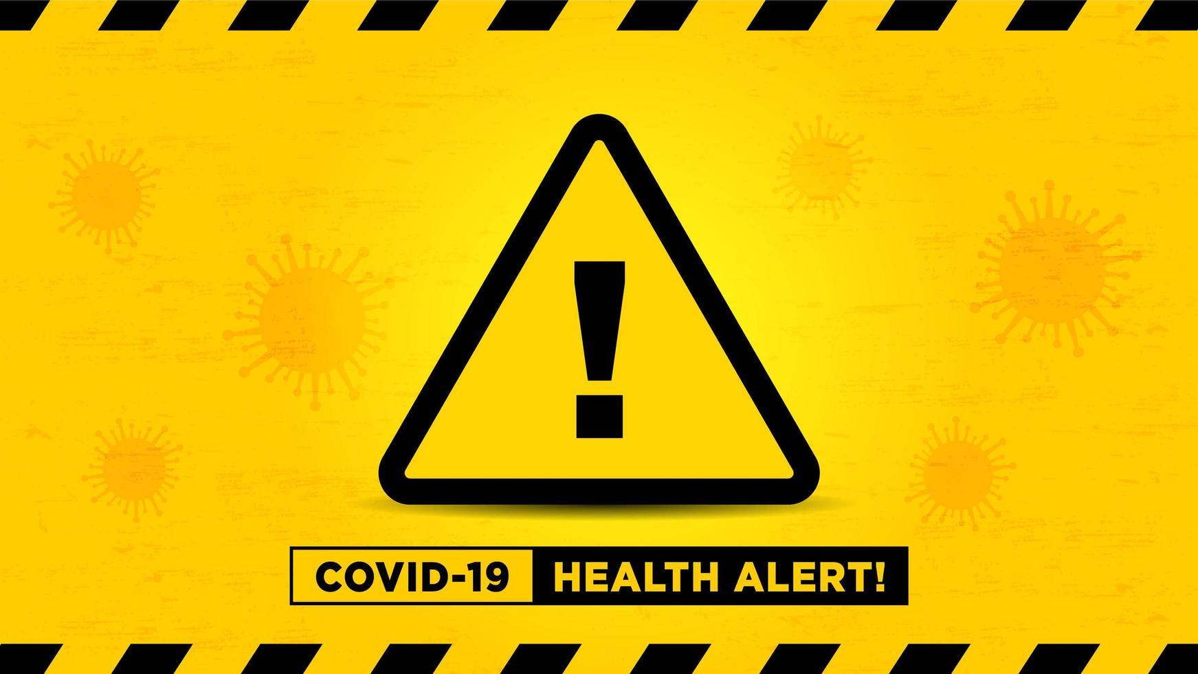 gezondheidsalarm teken op gele viruscel achtergrond vector