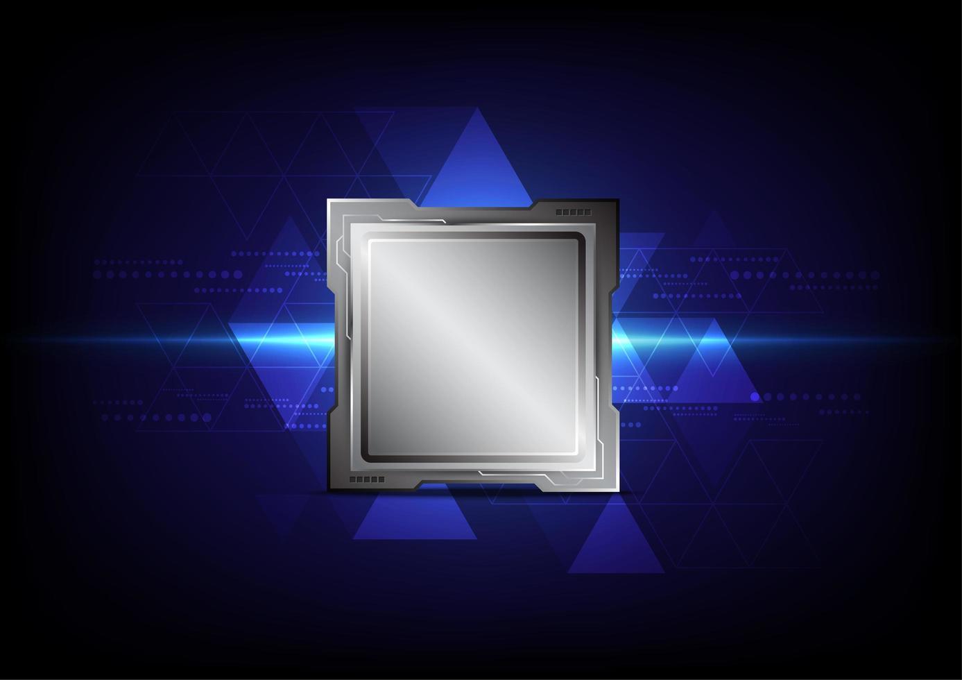 microchip op een blauwe driehoek abstracte achtergrond vector