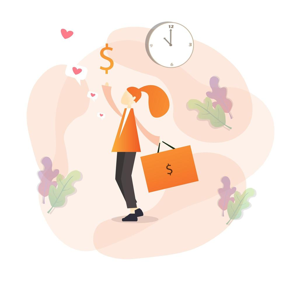 rijke persoon winkelen en houden tas vector
