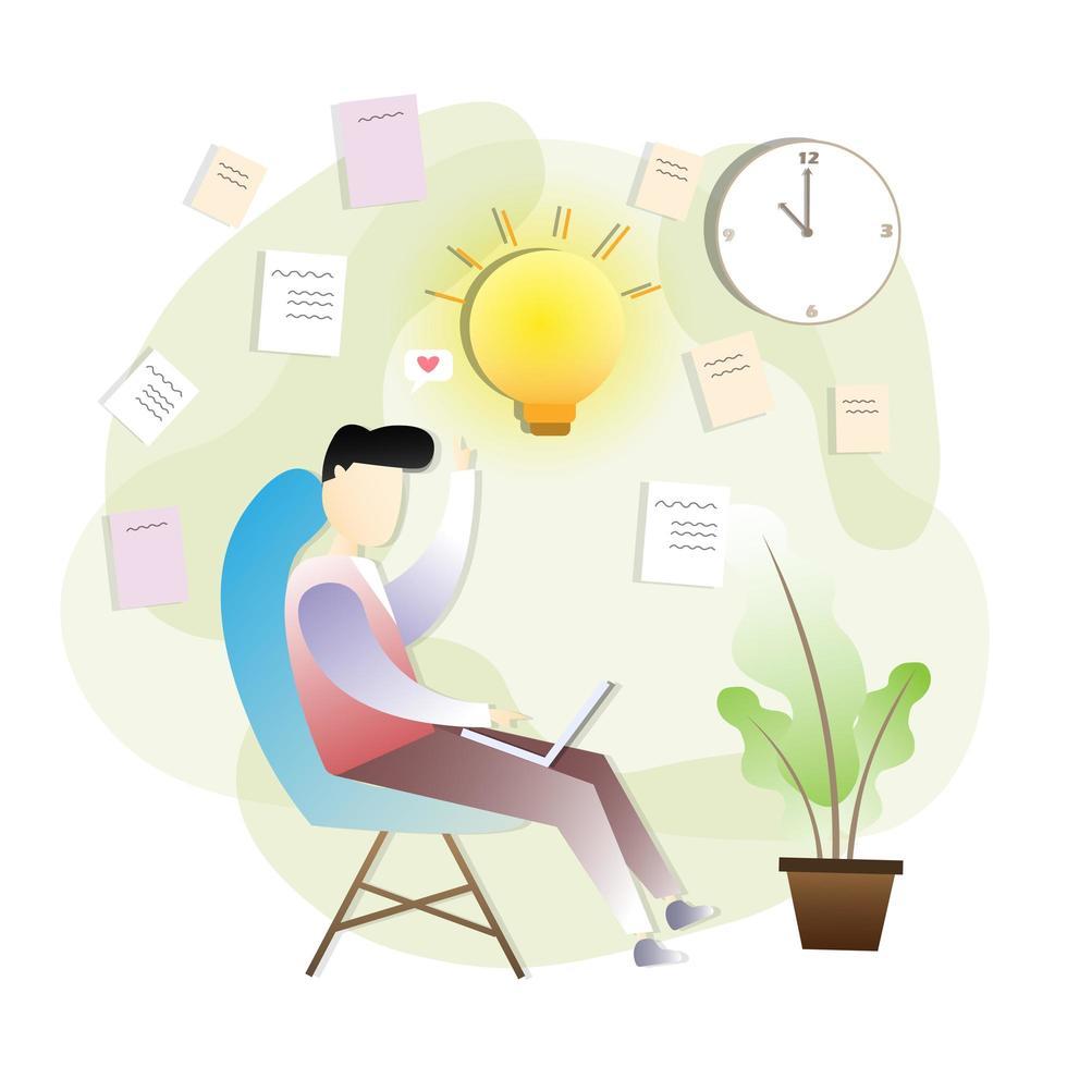 zakenman met idee tijdens het werken vector