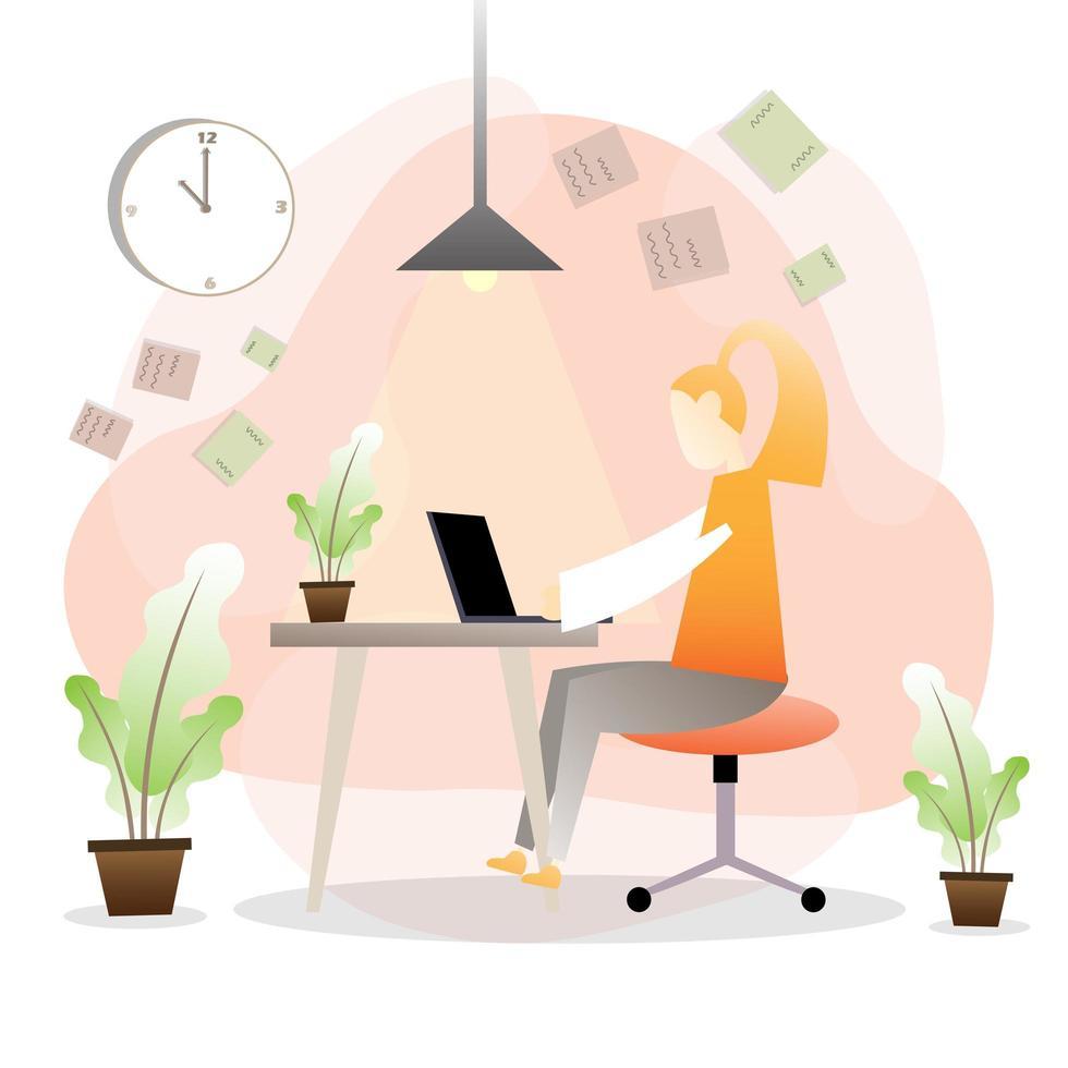 zakenvrouw hard werken vanuit huis vector
