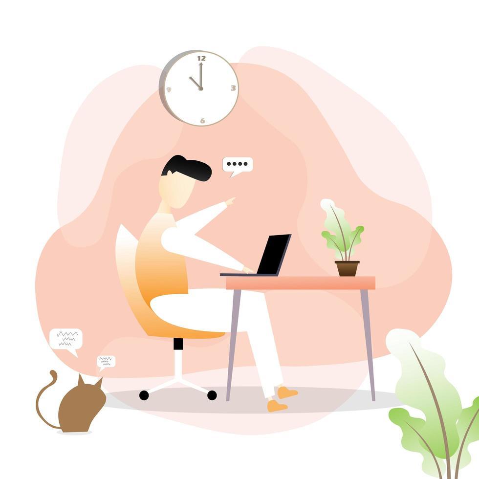 man aan het werk op bureau met kat kijken vector