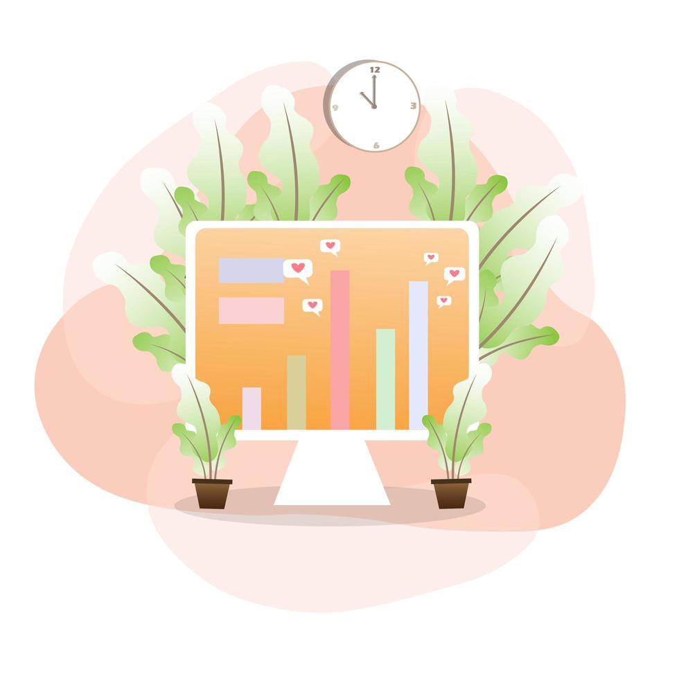 computer omringd door planten bedrijfsontwerp vector