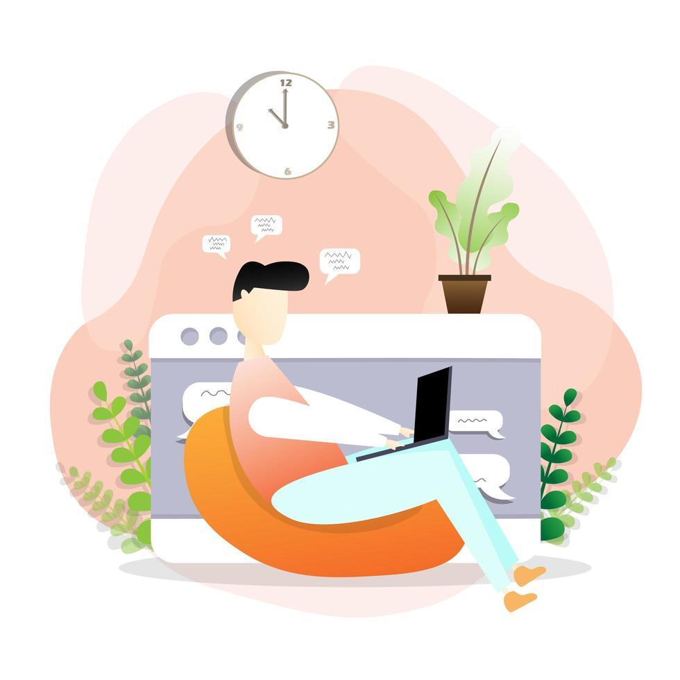 man ontspannen en thuiswerken op laptop vector