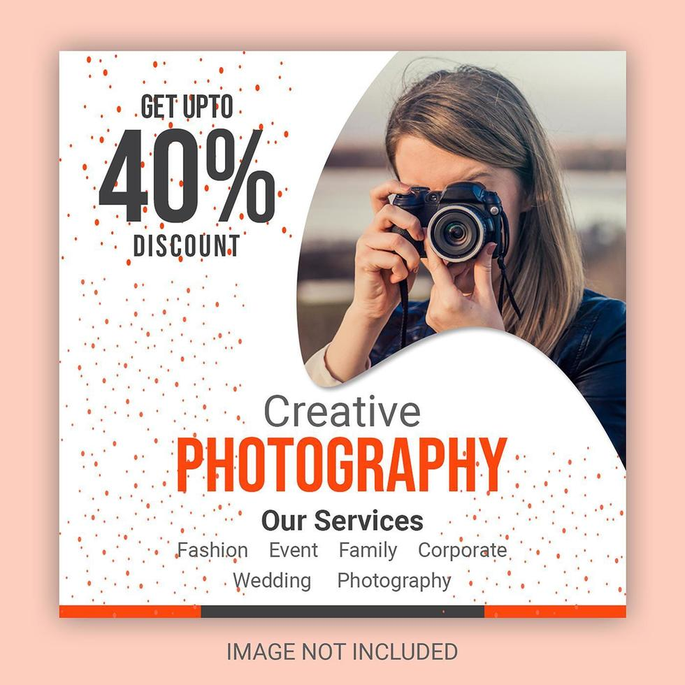 gebogen frame met oranje stippen social media post vector