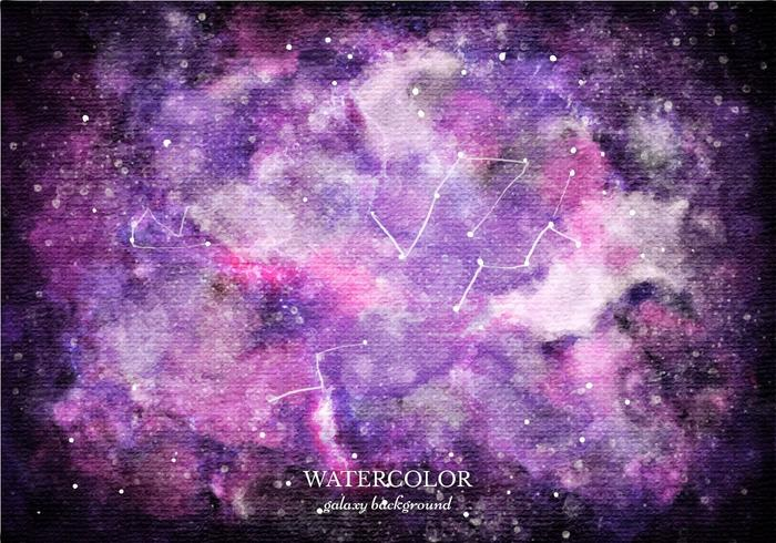 Gratis Vector Purpere Waterverf Galaxy Achtergrond