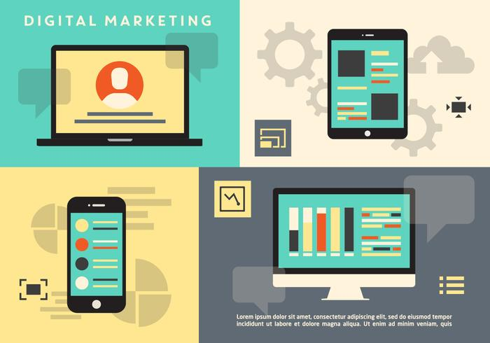 Flat Digital Marketing Icon Collection Vector Achtergrond