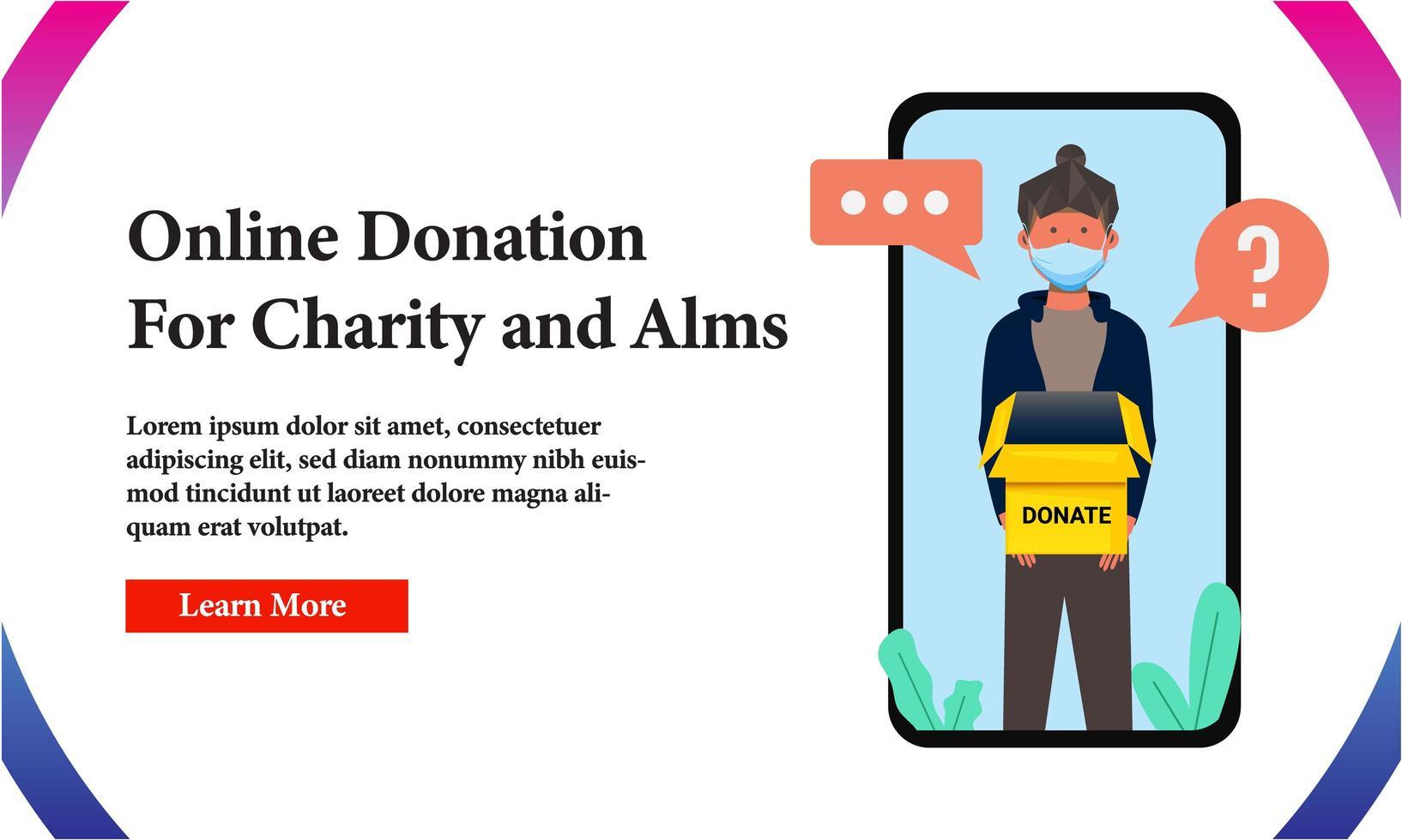 banner online donatie voor een goed doel op het telefoonscherm vector