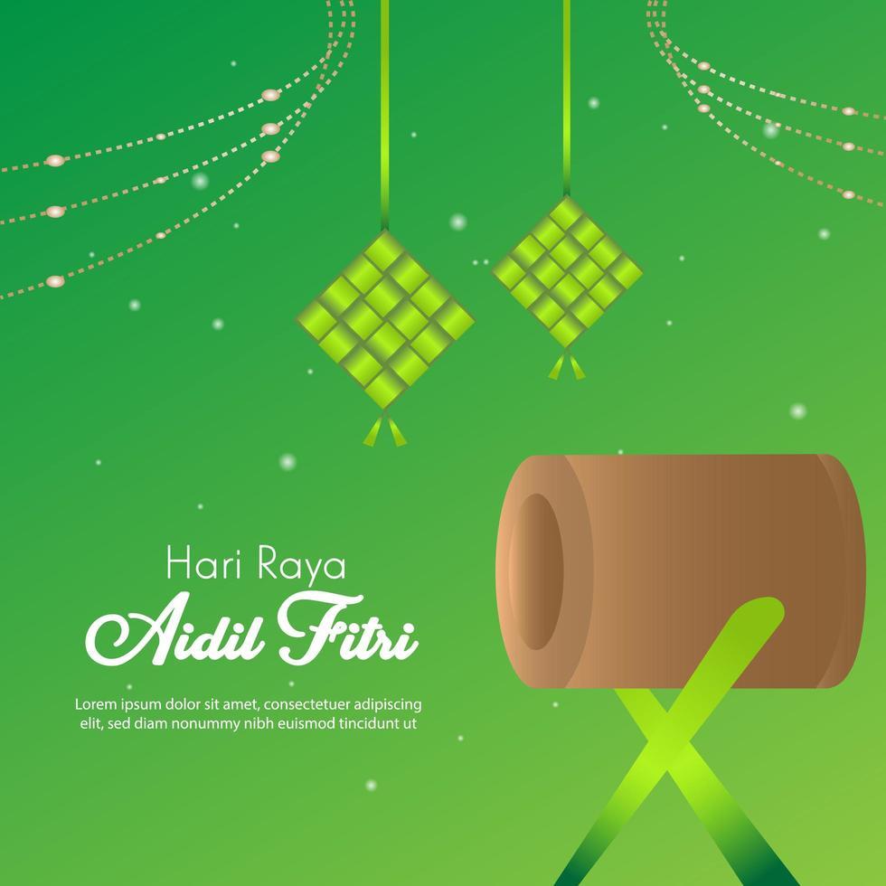 eid al fitr drum islamitisch feestfestival vector