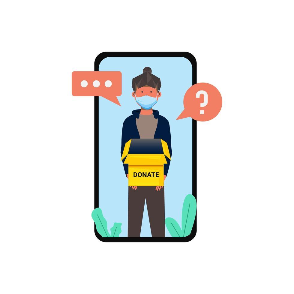 vrouw met '' doneren '' box op telefoonscherm vector