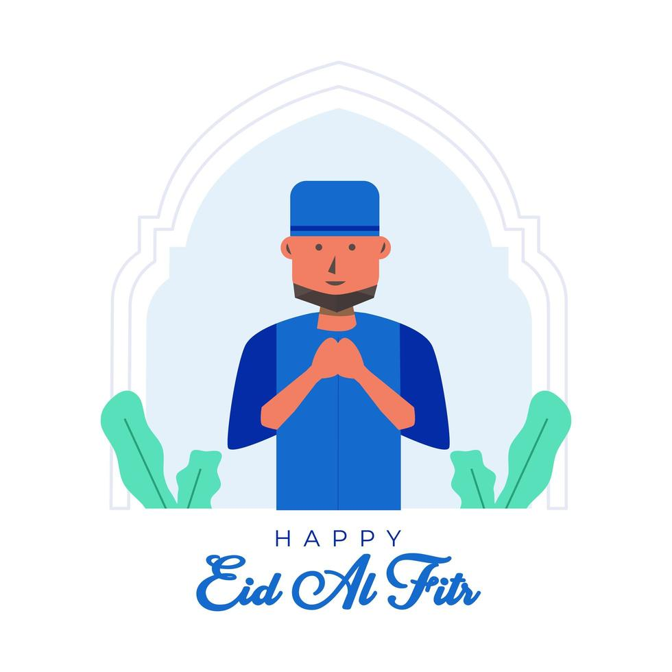 happy eid al fitr achtergrond met moslim man vector