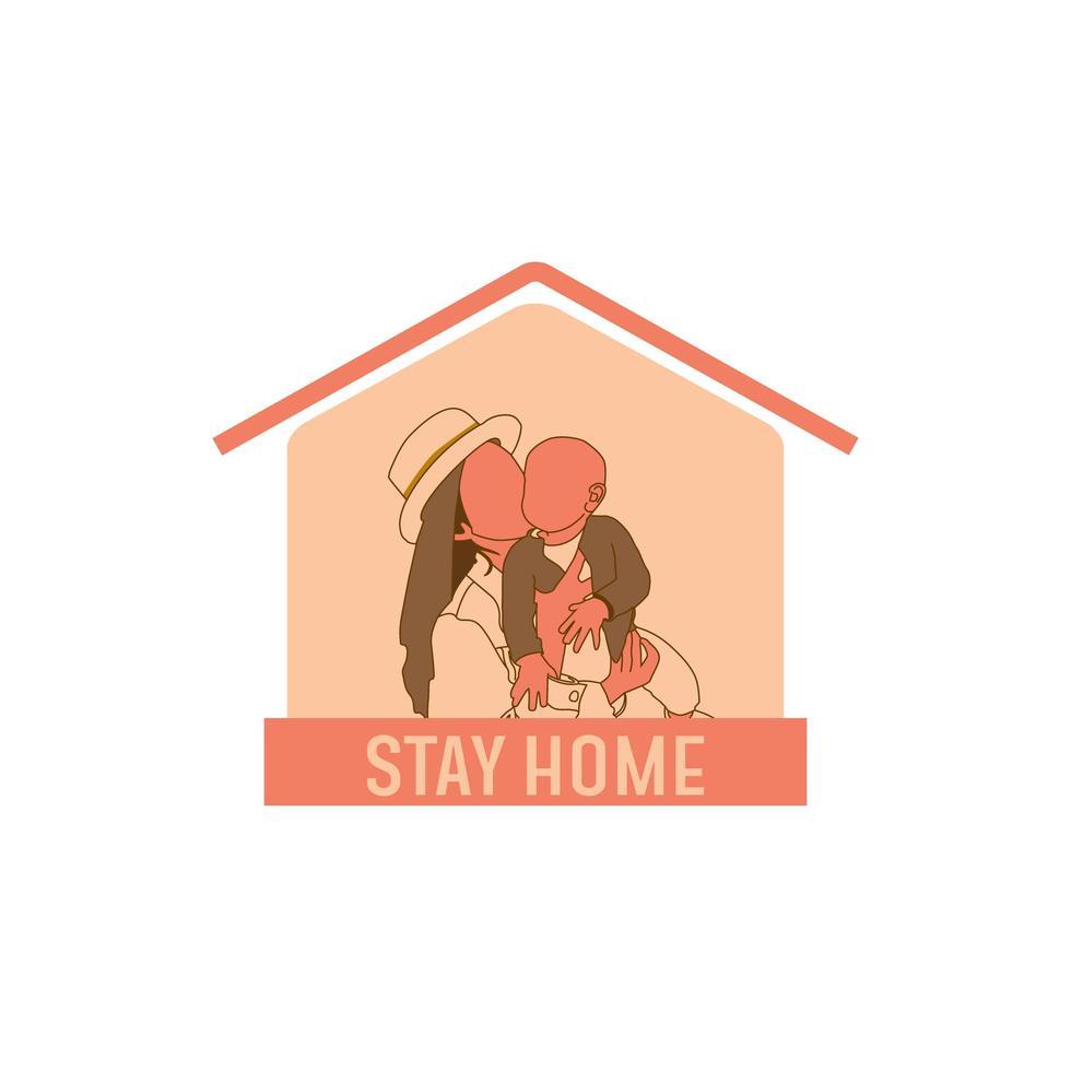 '' blijf thuis '' met moeder knuffelen baby vector