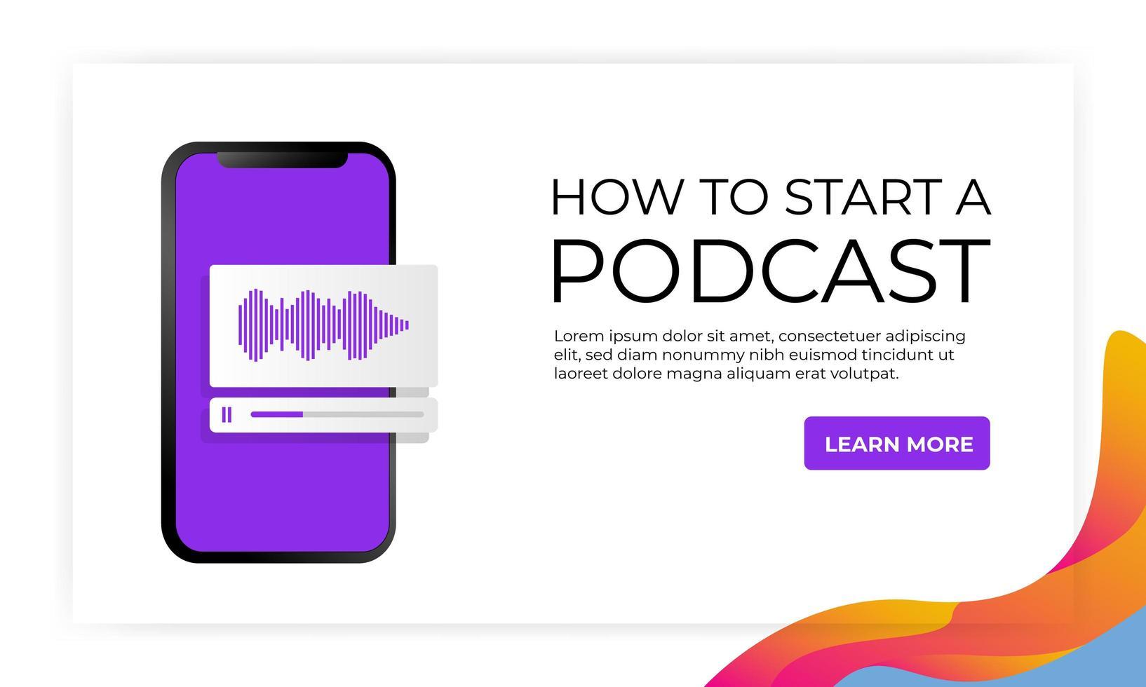 banner '' hoe start ik een podcast '' website-bestemmingspagina vector
