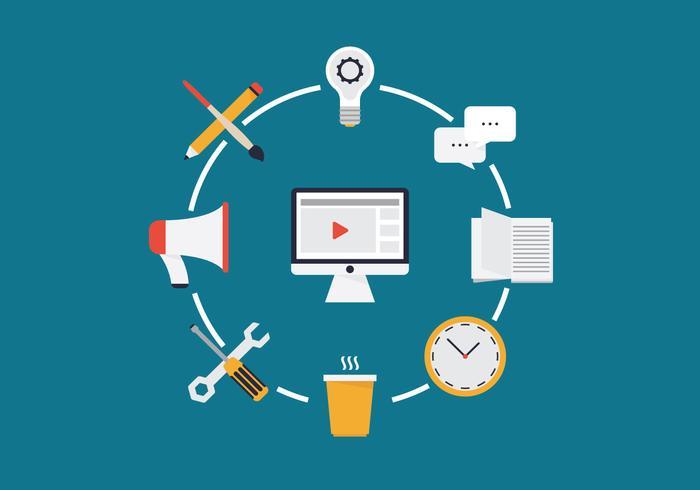 Webinar Digital Business Vector Illustratie