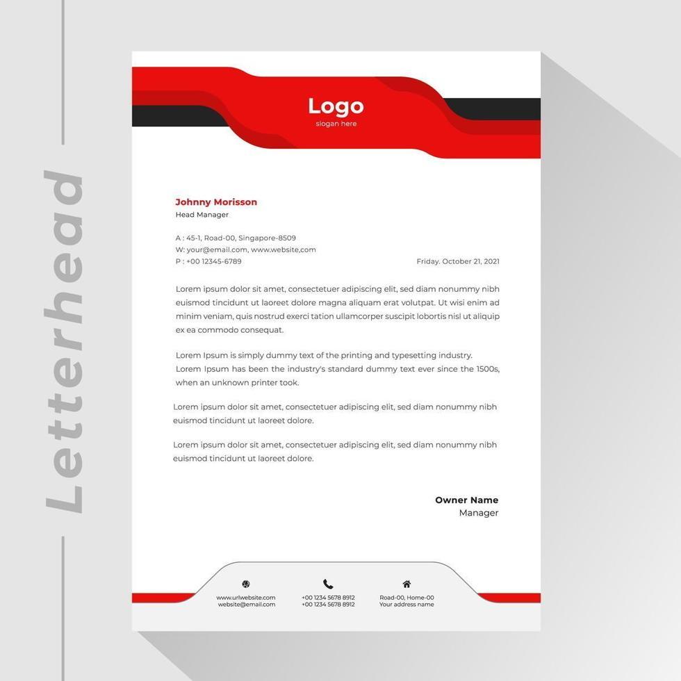 zakelijke briefhoofd met golvende rode en zwarte banner vector