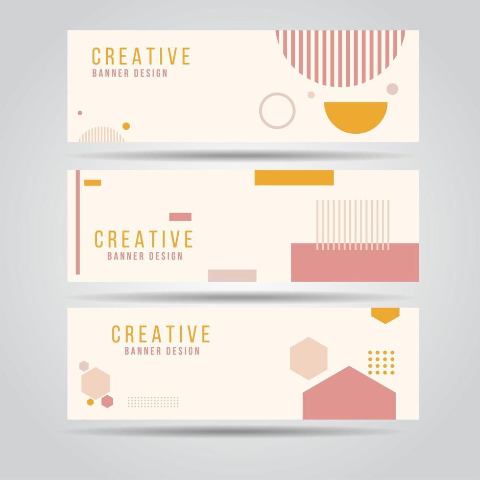 roze en oranje geometrische vorm horizontale banner set vector