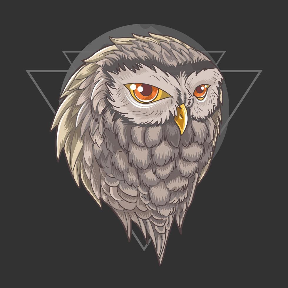 uil hoofd met driehoek ontwerp vector