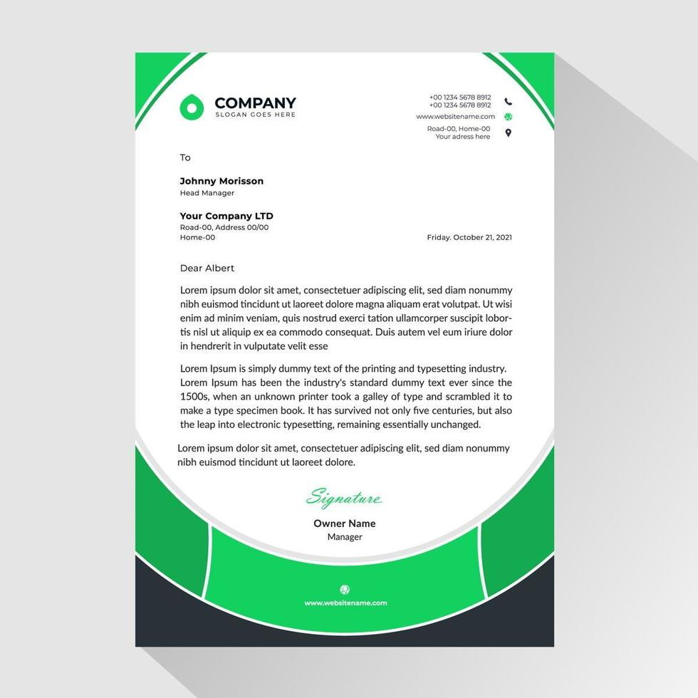 zakelijke briefhoofd met groene afgeronde framestijl vector