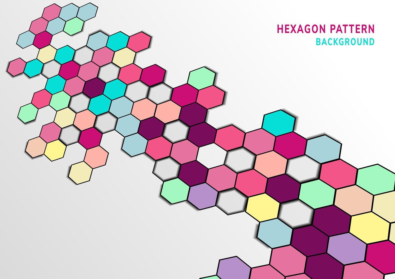 kleurrijke zeshoek patroon in elkaar grijpende vormen achtergrond vector
