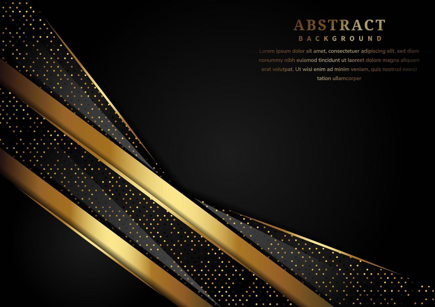 abstracte luxe overlappende goud en zwart glinsterende lagen achtergrond vector
