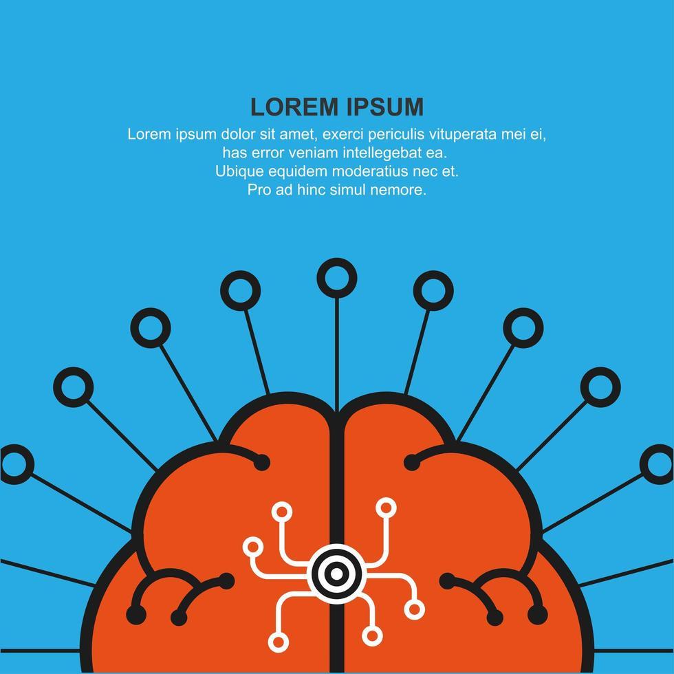 abstract menselijk brein symbool en copyspace vector
