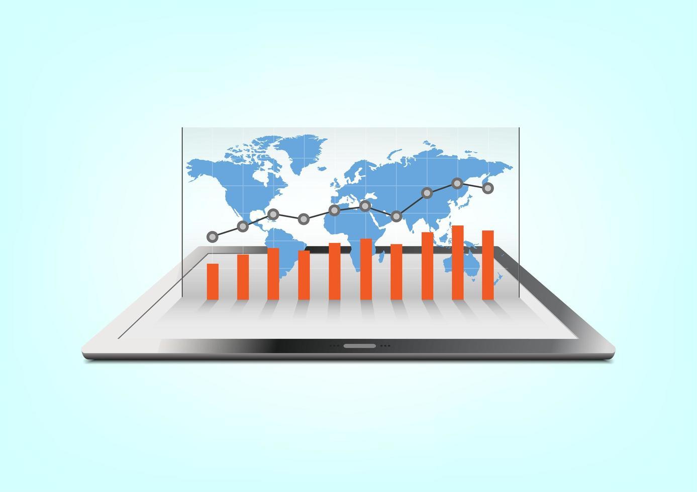 wereldwijde zakelijke grafiek op tablet vector