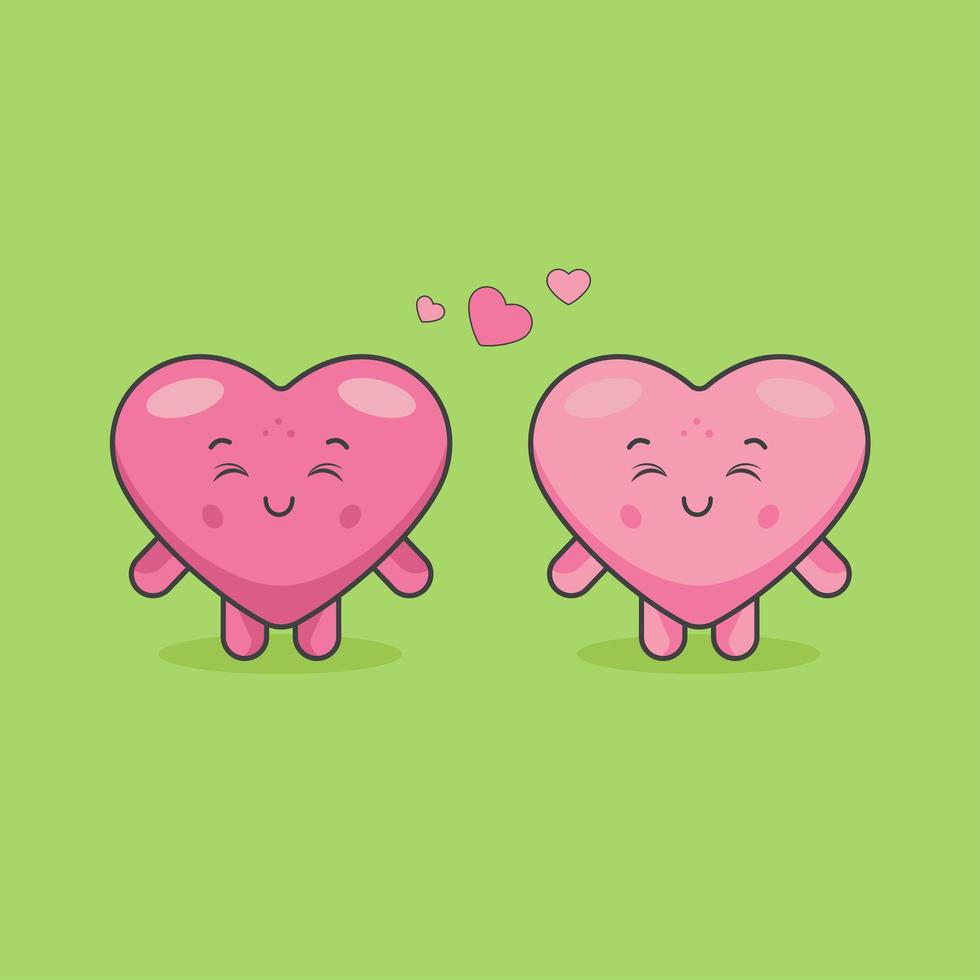 schattige hart paar karakters in een relatie vector