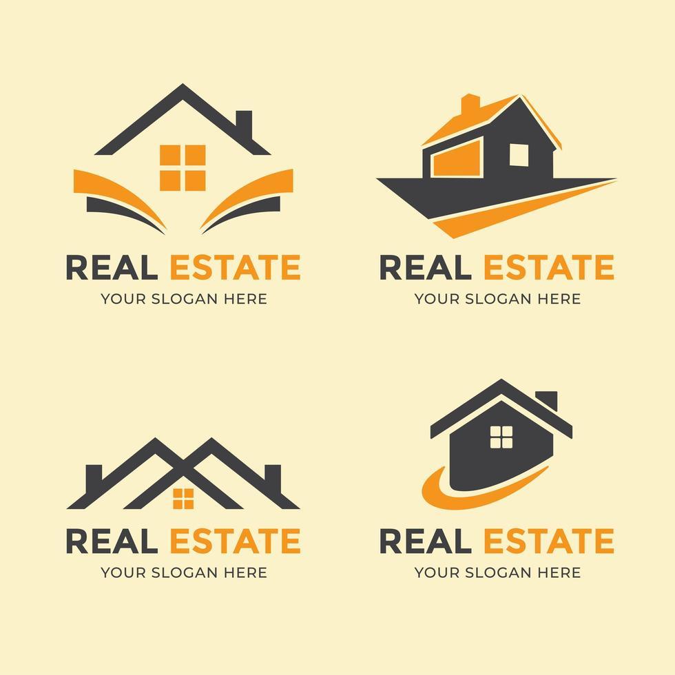 een set oranje en grijze huislogo's vector